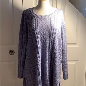 Lane Bryant periwinkle 26/28 cable knit sweater